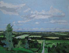 A Lago Ontario, Original pintura de paisaje de verano en Panel, Stooshinoff
