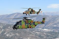 French Eurocopter EC655 Tigre & NH Industries NH90 Caiman. Article picture taken from minimal captioning & markings not clear if from Armée de Terre, Marine Nationale or Armée de l'Air.
