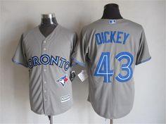 5e67afbedd2 Toronto Blue Jays  43 R.A. Dickey Away Gray 2015 MLB Cool Base Jersey