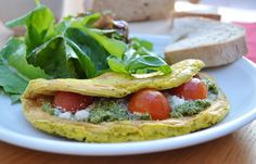 Pesto-Ricotta chickpea/Tofu Omelettes with Cherry Tomatoes - Coconut and Berries