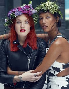icona pop's caroline hjelt & aino jawo in swedish midsommar flower crowns. photographed by peter farago & ingela klemetz farago for vogue.