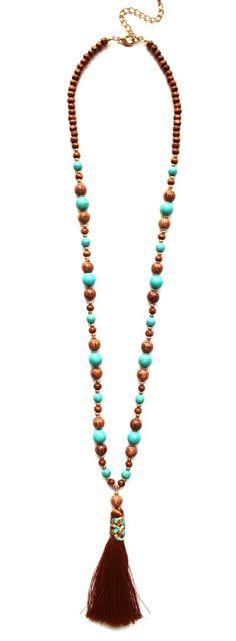 Beaded Boho Tassel Fringe Necklace