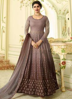 692b95ecf8 Buy Brown Prachi Desai Designer Party Wear Anarkali Suit-Best  Quality–Liinara Sharara Suit