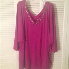 Mauve Blouse - plus size Casual or dressy. You choose. Either way you'll be comfortable and look good. Dark pink or mauve with Double Vneck collars. Has embellished neckline. 3/4 sleeves Lane Bryant Tops Blouses