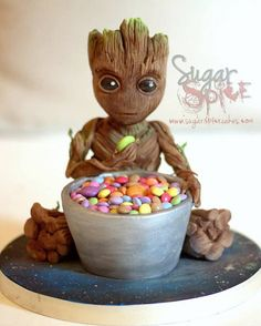 Baby Groot from Guardian's of the Galaxy Vol 2 Sculpted 3D cake