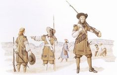 "Officer and soldiers of the régiment de Carignan-Salières, 1665-1668 - ""This reconstruction shows an officer and men of the régiment de Carignan-Salières during their service in New France (1665-1668). The common soldiers at left and right carry muskets. Hanging from their shoulder belts are the powder flasks known as 'the Twelve Apostles'. The officer at centre carries a half-pike and wears the white sash of a French officer around his waist. Reconstruction by Francis Back."""