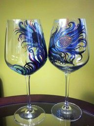 peacock designed wine glasses....I love them, I want to attempt :)