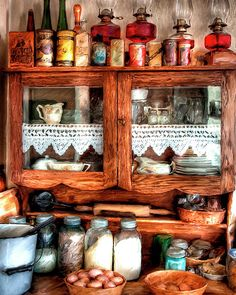 vintage farmhouse kitchen - displaying my oil lamps Farmhouse Kitchen Cabinets, Kitchen Cabinet Design, Kitchen Cupboards, Kitchen Interior, Farmhouse Kitchens, Kitchen Sideboard, Oak Sideboard, Rustic Cabinets, Cottage Kitchens