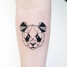 Polygonal panda bear tattoo on the right inner forearm. Tattoo artist: Pablo Díaz Gordoa