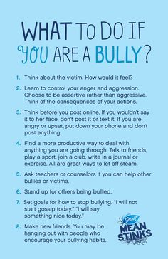 What to do if you are a bully.