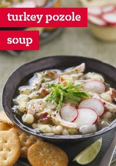Transform your Thanksgiving leftovers into our Mexican-style Turkey Pozole Soup. This hearty, flavorful turkey pozole is perfect for keeping you warm this autumn. Plus, Mexican oregano and green salsa give Turkey Pozole Soup a little extra kick. Kraft Foods, Kraft Recipes, Entree Recipes, Mexican Food Recipes, Soup Recipes, Thanksgiving Recipes, Holiday Recipes, Thanksgiving Leftovers, Food For Thought