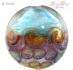 new! =) Handmade Glass Lampwork Beads River Dance Aurae Lentil Set 6 by Radiantmind | eBay