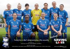 Birmingham City Ladies Football Club supporting Football Saving Lives www.savinglivesuk.com.  @savinglivesuk