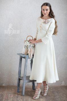 Купить Валяное платье «Bride» - белый, валяное платье, платье из войлока, ирина демченко