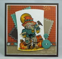 PaperLilies and Ink used Serendipity Stamps Scarecrow Boy rubber stamp to create her card.