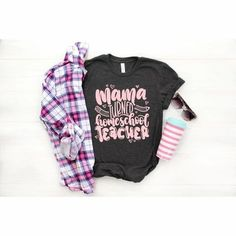 Mama Turned Teacher Home School Parent Back to School Shirt - Simply Crafty Vinyl Clothing, Boutique Clothing, School Shirts, Mom Shirts, Handmade Clothes, Cool Tees, Custom Shirts, Back To School, Kids Outfits