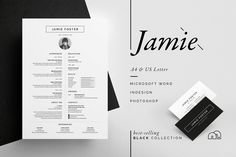 Resume/CV - Jamie by bilmaw creative on Ready for Print Resume template examples creative design and great covers, perfect in modern and stylish corporate business. Modern, simple, clean, minimal and feminine layout inspiration to grab some ideas. Business Brochure, Business Card Logo, Business Card Design, Corporate Business, Cv Template, Resume Templates, Design Typography, Lettering, Resume Designer