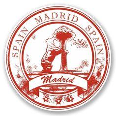 2 X Madrid Spain Vinyl Sticker Travel Luggage Tag Flag Map Laptop Car Car Bumper Stickers, Laptop Stickers, Suitcase Stickers, Madrid, Travel Stamp, Tumblr Stickers, Grunge, Aesthetic Stickers, Logo Sticker