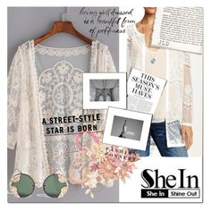 """Lace Cardigan - SheIn Contest"" by selmagorath ❤ liked on Polyvore featuring Maybelline, Karen T. Design, Spitfire, Karl Lagerfeld, H&M, lace, Sheinside, cardigan and shein"