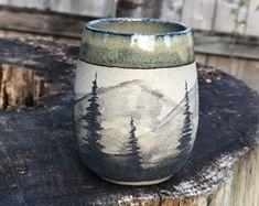 Stoneware Pottery Tumbler, Handmade, 'Watercolor Mountains' (Green)