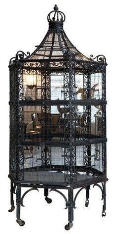 Art Nouveau Wrought Iron Bridcage: