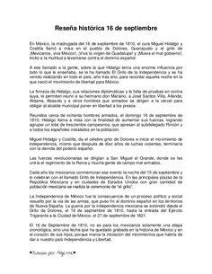 Reseña histórica 16 de septiembreEn México, la madrugada del 16 de septiembre de 1810, el cura Miguel Hidalgo yCostilla ll...