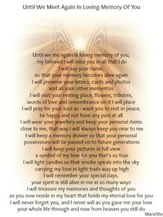 Until We Meet Again In Loving Memory of my brother Heaven Poems, Angels In Heaven, Missing My Husband, Husband Love, Grief Poems, Shattered Heart, You Poem, Grief Support, Memorial Poems