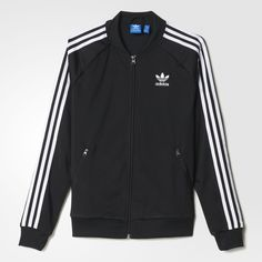 [ adidas, Supergirl Track Jacket - $70 ] This women's track jacket is a timeless iconic style. Shiny tricot material is paired with authentic adidas details like a ribbed baseball-style collar, contrast 3-Stripes and a rubber-print Trefoil on the back. Raglan sleeves make for an extra-comfortable fit. Front pockets.  Full zip with ribbed collar.  Raglan sleeves; Ribbed cuffs and hem.  Large rubber-print Trefoil on back.  Regular fit.  100% polyester tricot.