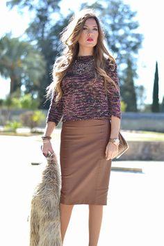 FUR COAT Brown Leather Skirt, Zara, Modest Fashion, Fur Coat, Style Inspiration, Skirts, Outfits, Women, Fur Coats