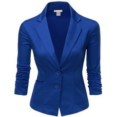 Doublju Womens 3/4 Sleeve Peaked Collar Cropped Blazer