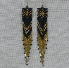 Extra Long Earrings Gold and Black Earrings  Native by Burvesrotas
