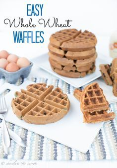Easy Belgian Waffles   chocolateandcarrots.com. Instead of 1/2 white wheat and 1/2 wheat, I used 1/2 white and 1/2 wheat..added some nutmeg and allspice along with the cinnamon. Came out great. Using the original recipe was kind of bland to me but that's just my taste.