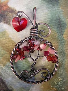 Romantic Heart Valentine Tree of Life Wire Wrapped Pendant Jewelry Rhodochrosite Garnet Crystal Rose Quartz