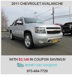 Check out this #ChevroletAvalanche with great #savings!! #WowCarCoupon provides exclusive #coupons!! Visit us now www.wowcarcoupon.com!! #bestdeal #greatcoupons