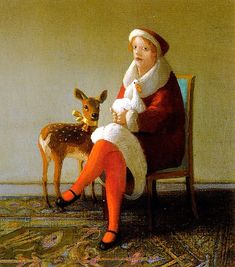 painting, bird, duck, deer, fawn, figure, woman, 3/4 view, sitting. Quiet Days, Michael Sowa
