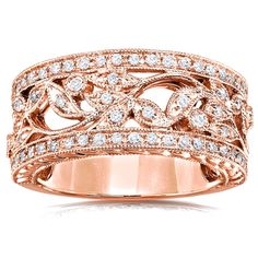 Annello by Kobelli 14k Rose Gold 1/4ct TDW Diamond Wide Floral Anniversary Ring (G-H, I1-