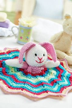Ravelry: Bunny comforter pattern by Lynne Rowe. So cute!