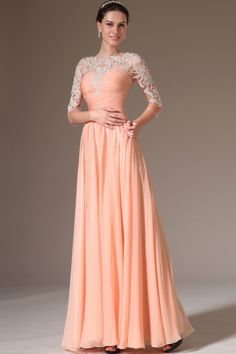 3/4 Length Sleeve Prom Dress