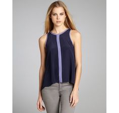 Greylin navy and lavender silk crepe 'Calista' pleated back sleeveless top
