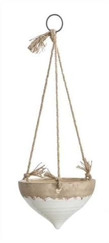 Stoneware Hanging Planter with Jute Rope, White