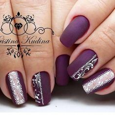 Nail art Christmas - the festive spirit on the nails. Over 70 creative ideas and tutorials - My Nails Purple Nail Art, Purple Nail Designs, Nail Art Designs, Elegant Nails, Stylish Nails, Trendy Nails, Fancy Nails, Bling Nails, My Nails