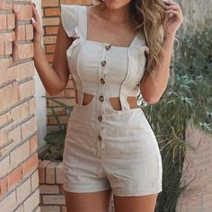 Rompers Women, Jumpsuits For Women, Fashion Jumpsuits, Short Playsuit, Ruffle Romper, Ruffles, Sexy Women, Clothes For Women, Casual