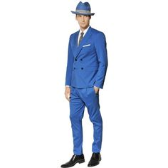 THE SUITS Cotton Poplin Double Breasted Suit ($366) ❤ liked on Polyvore featuring men's fashion, men's clothing, men's suits, bright blue and mens double breasted suit