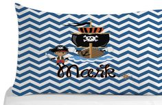 Pirate Pillow Case, Chevron Pattern, Pillow Cover, Kids Bedroom Decor, Pirate Theme, Personalized Pillowcase by 5MonkeysDesigns on Etsy Kids Bedroom, Bedroom Decor, Personalized Pillow Cases, Pirate Theme, Pirates, Chevron, Pillow Covers, Birthday Gifts, Pillows
