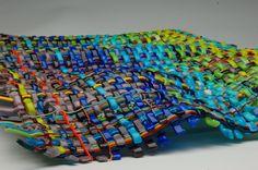 "Woven glass wall sculpture Venezia  25""x 18""  Artists -Tomac and Lewanski"
