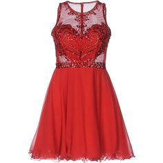 Forever Unique Short Dress ($655) ❤ liked on Polyvore featuring dresses, red, sequin dress, red mini dress, sequin cocktail dresses, red cocktail dress and chiffon dresses
