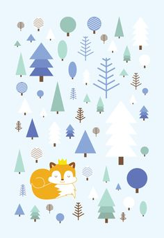 Postcard 10x15 cm with winter fox by HeidiSuulDesign on Etsy