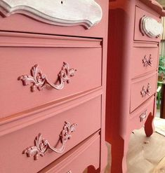 Chalk Paint® by Annie Sloan, Scandinavian Pink and Old Ochre with Clear Wax by The Owl Box