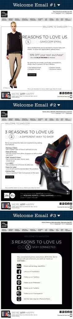 This beautiful three-email welcome series gives the customer several reasons to shop at Saks while keeping them thoroughly engaged. (Sent June, 2013) #emailmarketing #saks