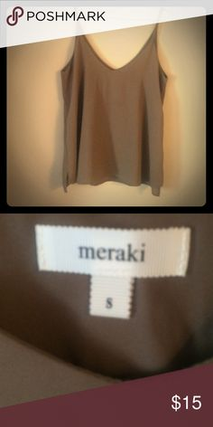 Silk tank Beautiful brown soft top, brand new never worn in excellent condition (: Meraki Tops
